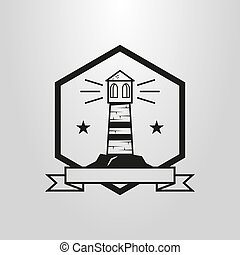 symbol of lighthouse in a hexagon frame with a ribbon inscription