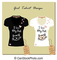 Black and white T-shirt with a cute cat