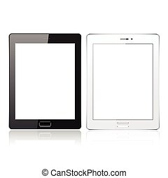 Black and White tablet pc computer with blank screen isolated on the white background. Realistic template. Vector illustration