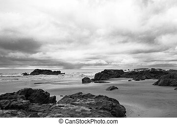 Black and white take of a rocky Pacific shore in Costa Rica