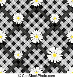 Black and white tartan plaid and daisy flowers pattern on checkered background for textile