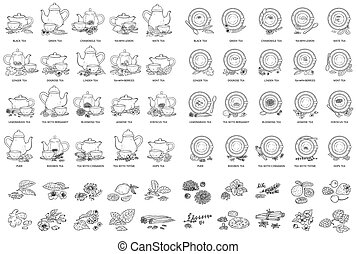 Black and white tea types drawing set - vector illustration...