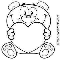 Black And White Teddy Bear Cartoon Mascot Character Holding A Valentine Love Heart