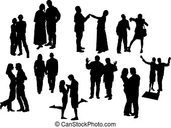 Black and white ten couples silhouettes. Vector illustration.