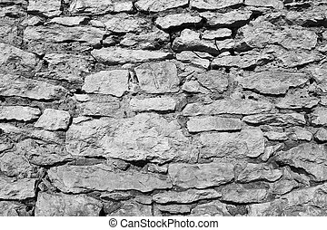 black and white texture of stone wall