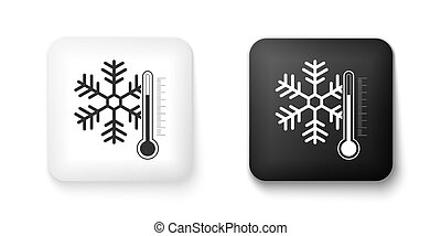Black and white Thermometer with snowflake icon isolated on white background. Square button. Vector