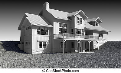 Black and white three story house - 3D Illustration of a ...