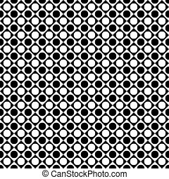 black and white tile chessboard pattern with circles, vector squares background