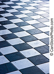 floor - black and white tile floor