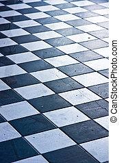 floor - black and white tile floor