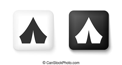 Black and white Tourist tent icon isolated on white background. Camping symbol. Square button. Vector