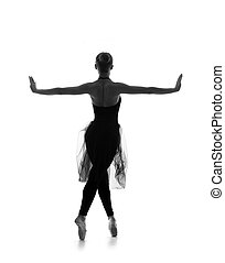 Black and white trace of young beautiful ballet dancer isolated over white background