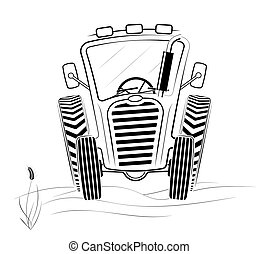 Black and white tractor profile in the field. A funny drawing. Spring work or harvesting.