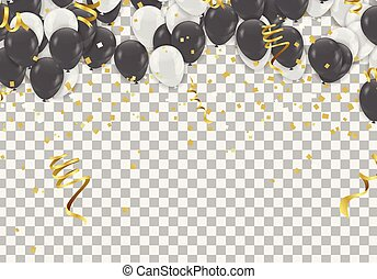 Black and white transparent helium balloons on white background.