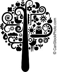 Black and white tree with ecological icons - Cutout vector...