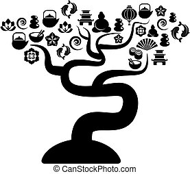 Black and white tree with zen and yoga icons - Cutout vector...