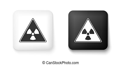 Black and white Triangle sign with radiation symbol icon isolated on white background. Square button. Vector
