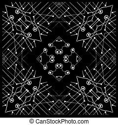 Black and White Tribal Geometric Pattern