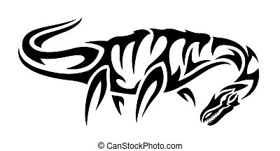 Beautiful black and white tribal tattoo illustration with isolated plesiosaur silhouette