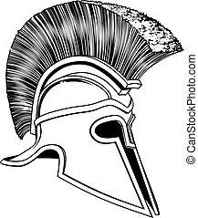 Black and White Trojan Helmet - Graphic of a bronze Trojan...