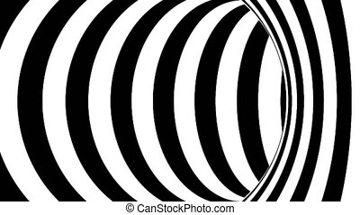 Black and white tunnel. Seamless loop