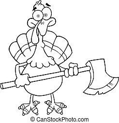 Black and White Turkey With Ax