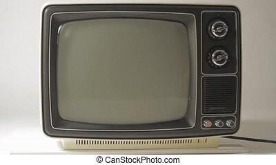 Black and White TV - Retro TV turn on and off with poor ...
