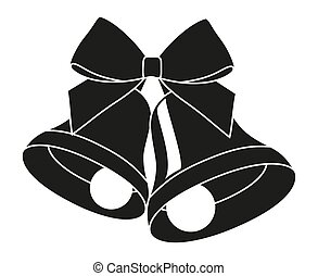 Black and white two bells with ribbon bow silhouette