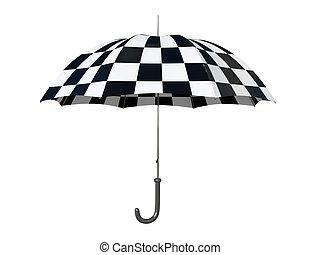 Black and white umbrella isolated on white background