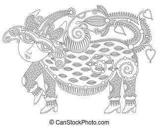 black and white unusual fantastic creature in decorative...