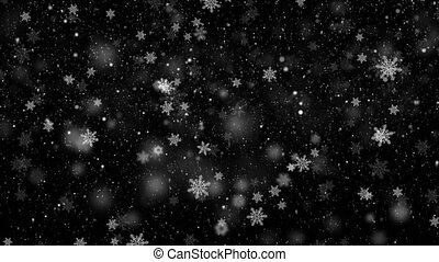 Black and White Up to down christmas snowflakes animation...