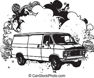 Black and white van illustration - Black and white delivery...