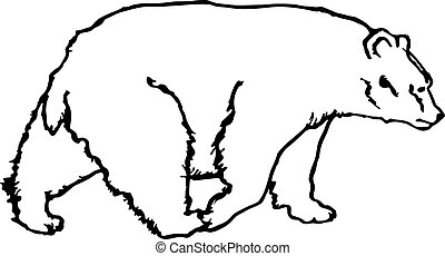 black and white vector bear silhouette