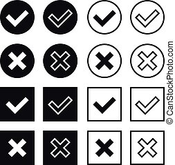Black and white vector check marks