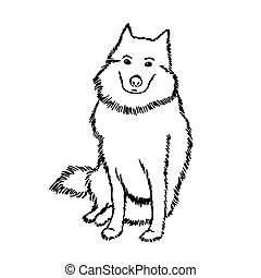 Black and white vector drawing of a Samoyed dog. A cute pet is sitting and waiting for the owner. The big shaggy dog looks at us expectantly and with reproach. Good white thoroughbred dog