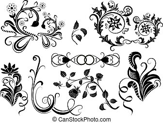 Black and white vector floral design elements.