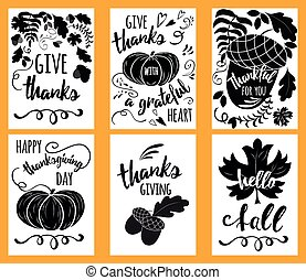 Black and white vector hand drawn Doodle Happy Thanksgiving Day cards. Vertical banners design templates set