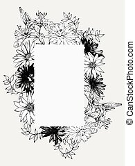 Black and white vector illustration. Frame with flowers, hand-dr
