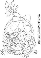 Easter basket - Black and white vector illustration of a ...