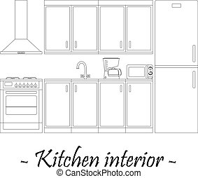 Black-and-white vector illustration of a kitchen interior.