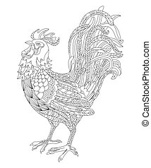 black and white vector illustration of a rooster, symbol of the year 2017. Adult antistress coloring page