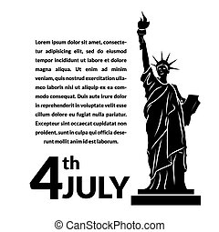 Black and white vector illustration of independence day USA,...