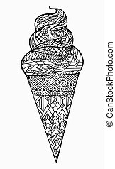 Black and white vector illustration of ice cream cone with boho pattern. Doodle element for printing on T-shirts, postcards and your creativity