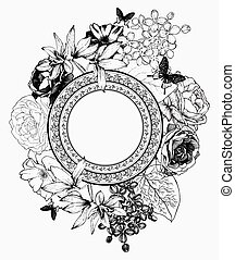 Black and white vector illustration. Frame with flowers and butt