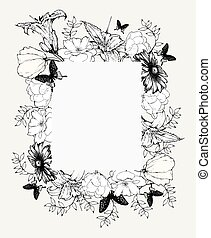 Black and white vector illustration. Vintage frame with flowers