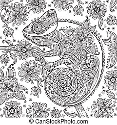 Black and white vector illustration with a chameleon in ethnic patterns on the flowering branch. It can be used as  coloring antistress for adults  children