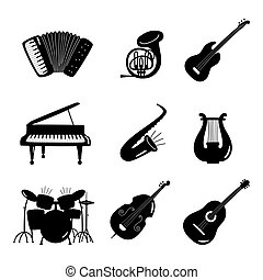 Black and white vector music instruments icons isolated on white background