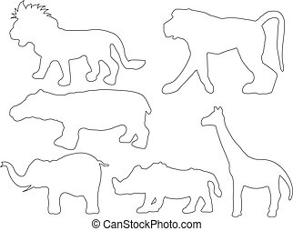 Black and white vector of wild animals