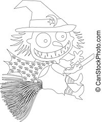 Black and white vector of witch