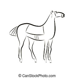 Black and white vector outline of a standing horse